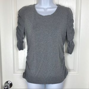 Vince Camuto Ruched Sleeve Gray Tee Top Shirt sz M